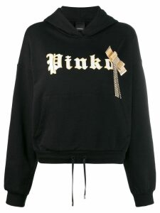 Pinko embroidered logo print hoodie - Black