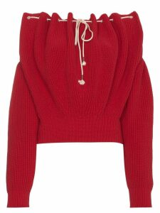 Calvin Klein 205W39nyc Off Shoulder Knit Pullover - Red