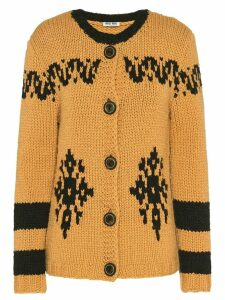 Miu Miu hand-knit camel hair cardigan - Yellow