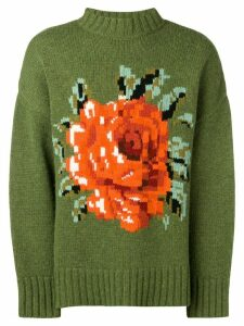 Ami Paris Hand-knitted Crewneck Oversize Sweater - Green