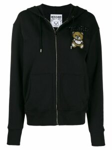 Moschino beaded teddy bear zipped hoodie - Black