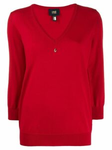 Cavalli Class embellished V-neck pullover - Red
