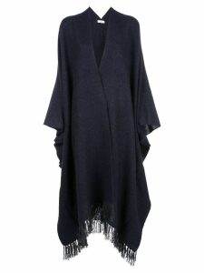Brunello Cucinelli fringed knitted cape - Blue