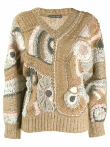 Alberta Ferretti Eyelet patterned knit jumper - NEUTRALS