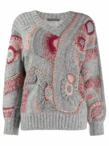 Alberta Ferretti Eyelet patterned knit jumper - Grey