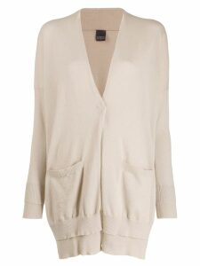 Lorena Antoniazzi slim-fit oversized cardigan - NEUTRALS
