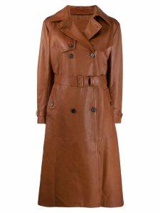 Prada belted leather coat - Brown
