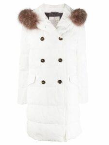 Brunello Cucinelli fur-trimmed parka coat - White