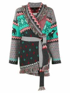 Alanui cashmere knitted cardi-coat - Green
