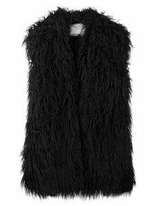 Paco Rabanne faux-fur oversized gilet - Black