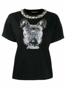 Frankie Morello embellished neck T-shirt - Black