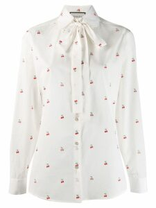 Gucci cherry embroidered blouse - White