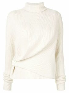 System asymmetric turtleneck jumper - White