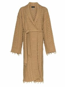 Alanui fisherman cable-knit longline cardigan - Brown