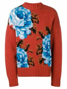 Ami Paris Oversize Flowers Sweater - ORANGE