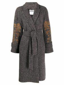 Moschino Mythological Creatures embroidery coat - Grey