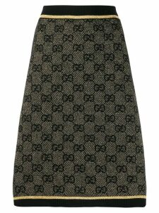 Gucci GG print metallic finish skirt - Black