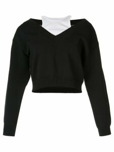 Alexander Wang wide V-neck top - Black