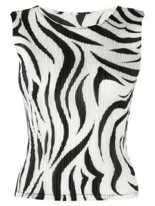Pleats Please Issey Miyake zebra-pattern pleated top - White