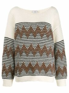 Closed striped knitted jumper - NEUTRALS