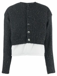Enföld contrast panel knit cardigan - Blue
