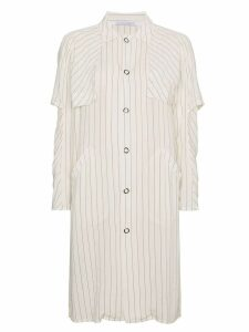 Lot78 striped shirt coat - White