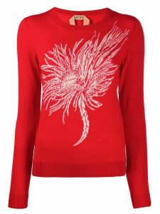 Nº21 Anemone intarsia knitted sweater - Red