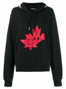 Dsquared2 maple leaf print hoodie - Black