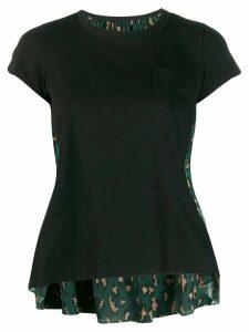 Sacai bi-panelled top with leopard print - Black