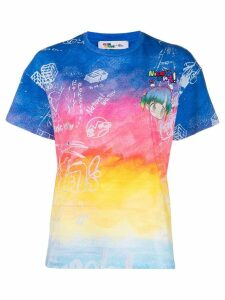 Mira Mikati graphic paint detail T-shirt - Blue