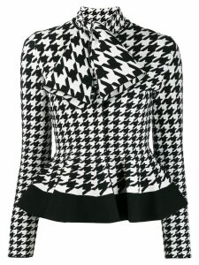 Alexander McQueen houndstooth patterned knitted top - White