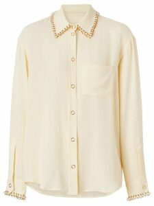 Burberry ring-pierced silk oversized shirt - NEUTRALS