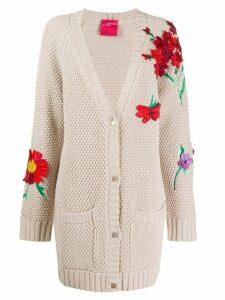Blumarine floral-appliquéd cardigan - PINK