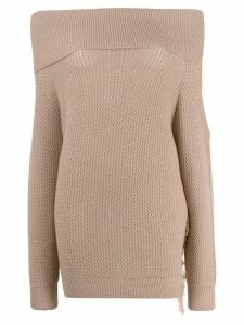 Stella McCartney off-shoulders fringed knitted sweater - NEUTRALS