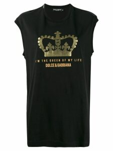 Dolce & Gabbana glitter crown tank top - Black