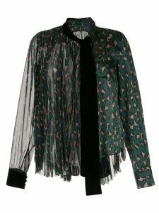Sacai velvet trim blouse - Green