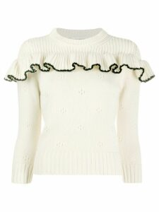 Alexander McQueen cashmere ruffled crew neck sweater - White