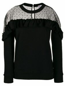 Red Valentino sheer panel ruffled sweatshirt - Black