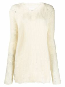 Jil Sander distressed effect chunky knit jumper - NEUTRALS