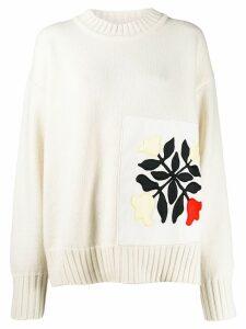 Jil Sander floral patch oversized jumper - NEUTRALS