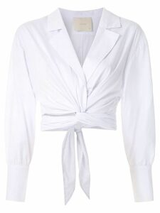 Framed Lotus wrap style top - White