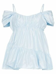 Simone Rocha taffeta ruffled off-the-shoulder top - Blue
