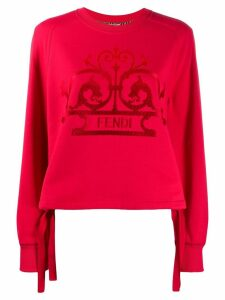 Fendi logo print sweatshirt - Red