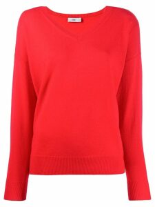 Closed V-neck fine knit sweater - Red