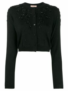Twin-Set cropped bead-embellished cardigan - Black