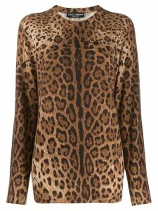 Dolce & Gabbana cashmere animal print sweater - Brown