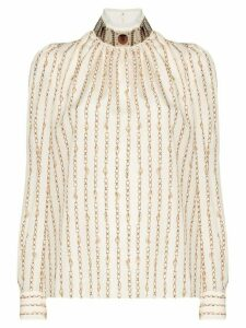 Chloé high-neck chain detail blouse - NEUTRALS