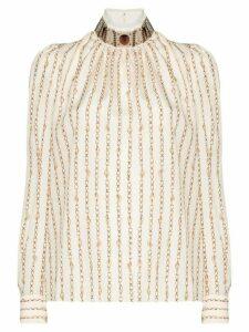 Chloé high-neck chain detail blouse - NEUTRALS
