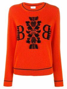 Barrie cashmere contrast jumper - ORANGE
