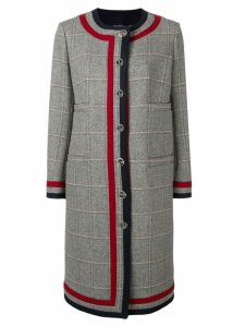 Thom Browne Grey Tweed Cardigan Overcoat - Blue